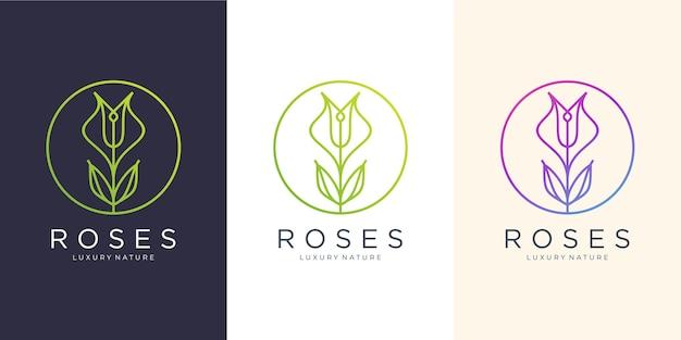 Bloem rozen lijn kunststijl. luxe cirkel, schoonheidssalon, mode, huidverzorging, cosmetica, natuur- en kuurproducten. logo ontwerpsjabloon. Premium Vector