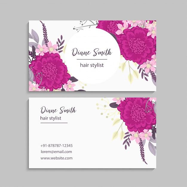 Bloem visitekaartjes hete roze bloemen Gratis Vector