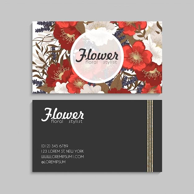 Bloem visitekaartjes rode bloemen Gratis Vector