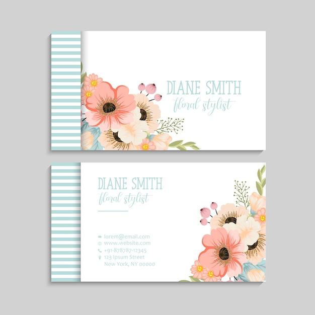 Bloem visitekaartjes roze bloemen Gratis Vector