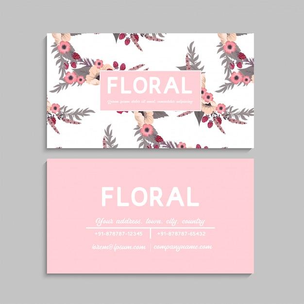 Bloem visitekaartjes roze Gratis Vector