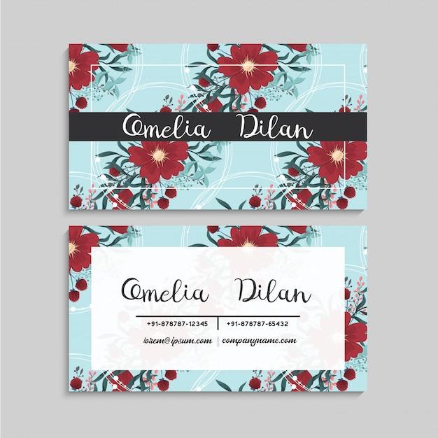 Bloem visitekaartjes sjabloon rood en mintgroen Gratis Vector