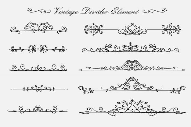 Bloem wervelingen scheidingselement vintage ornamenten decoratie-element Premium Vector
