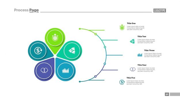 Bloemblaadjesdiagram met vijf elementen Gratis Vector