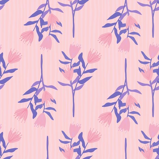 Bloemboeket silhouetten naadloze patroon. hand getekend botanische elementen en gestripte achtergrond in roze en blauwe tinten. Premium Vector