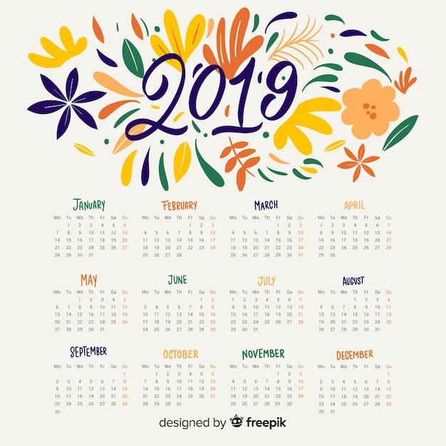 Bloemen abstracte kalender 2019 Gratis Vector