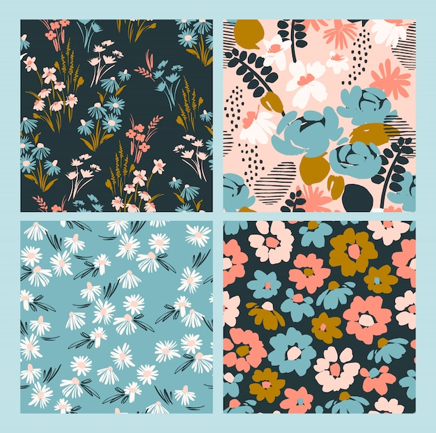 Bloemen abstracte naadloze patronen. Premium Vector