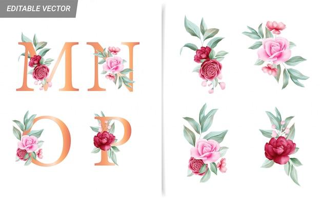 Bloemen alfabet set met aquarel bloemen elementen Premium Vector
