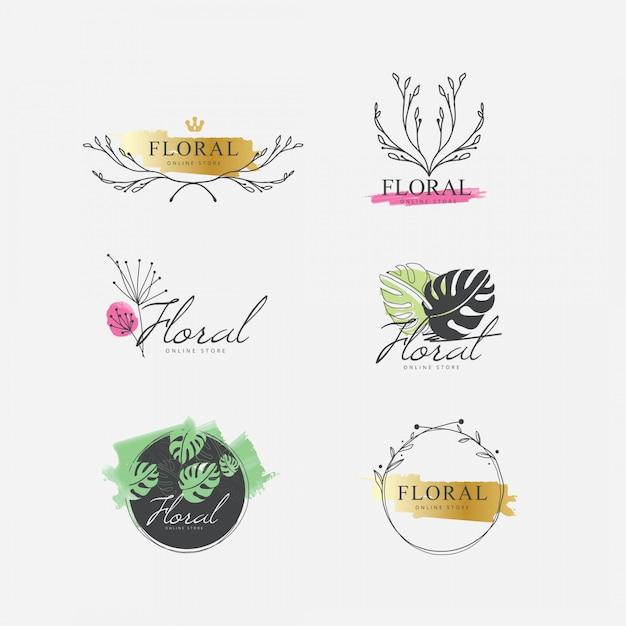 Bloemen aquarel logo collectie Premium Vector