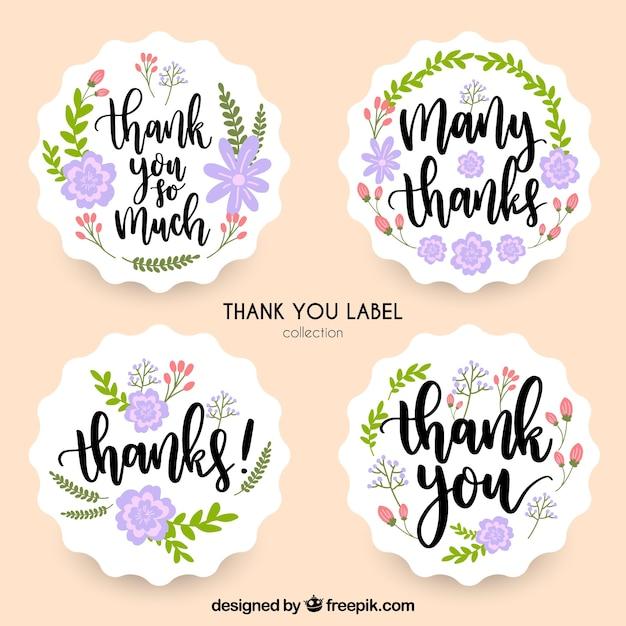 Bloemen bedankt label collectie Gratis Vector