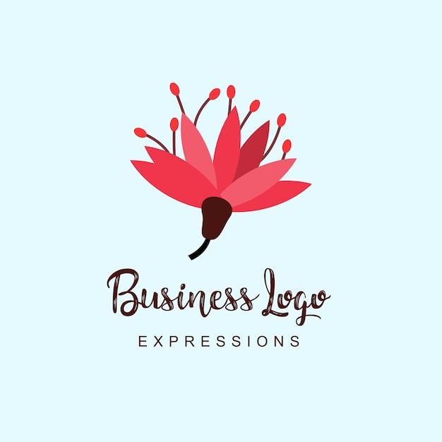 Bloemen bedrijfslogo met typografie Premium Vector