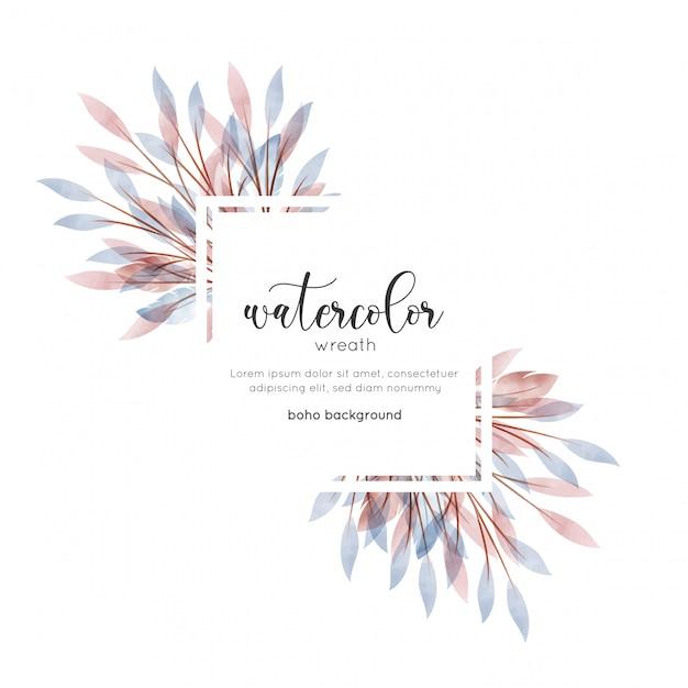 Bloemen boheemse stijl bloemen kaart Premium Vector