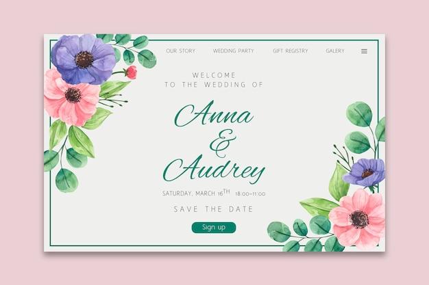Bloemen bruiloft bestemmingspagina Premium Vector
