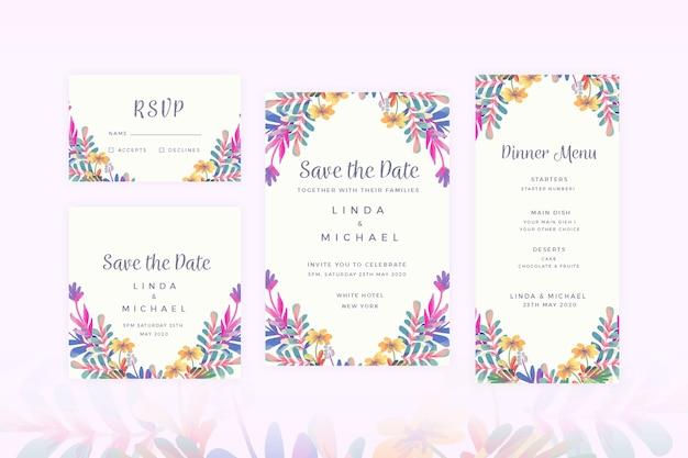 Bloemen bruiloft briefpapier instellen Gratis Vector