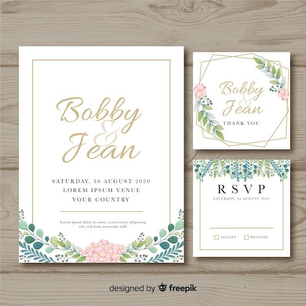 Bloemen bruiloft briefpapier uitnodiging sjabloon Gratis Vector