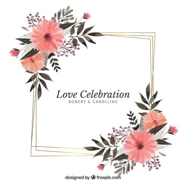 Bloemen bruiloft frame sjabloon Gratis Vector