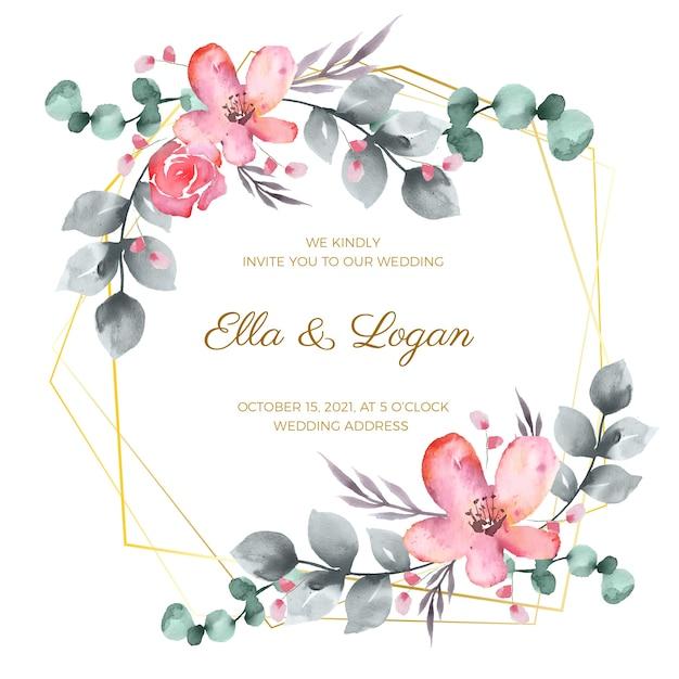 Bloemen bruiloft frame Gratis Vector