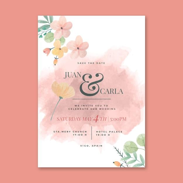 Bloemen bruiloft kaart concept Gratis Vector