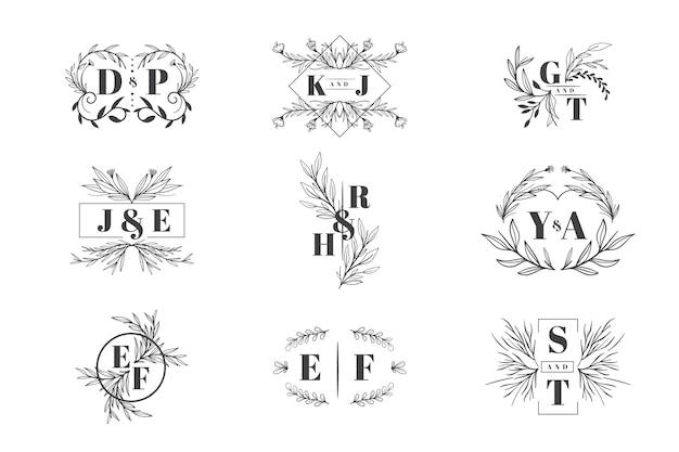 Bloemen bruiloft logo collectie Gratis Vector