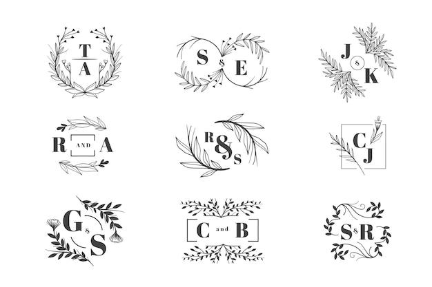 Bloemen bruiloft logo pack Gratis Vector