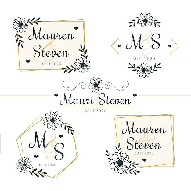 Bloemen bruiloft logo's Gratis Vector