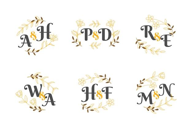 Bloemen bruiloft monogram collectie thema Gratis Vector