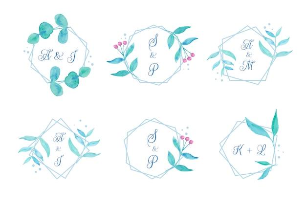 Bloemen bruiloft monogrammen Gratis Vector
