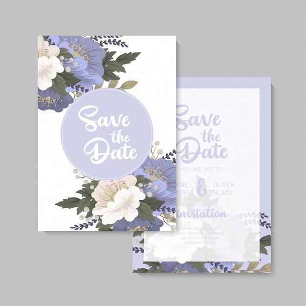 Bloemen bruiloft sjabloon blauwe bloemen kaart Gratis Vector