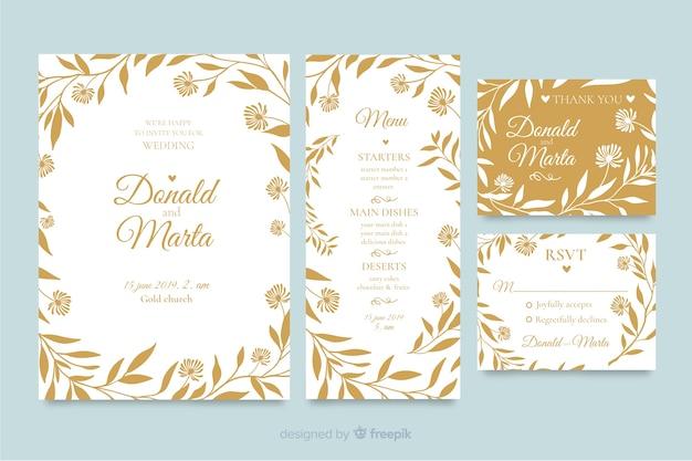 Bloemen bruiloft stationaire sjabloon collectie Gratis Vector