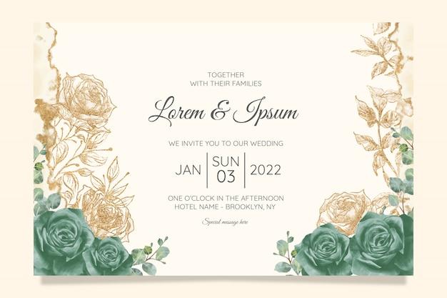 Bloemen bruiloft uitnodiging kaarten sjabloon met aquarel gouden folie Premium Vector