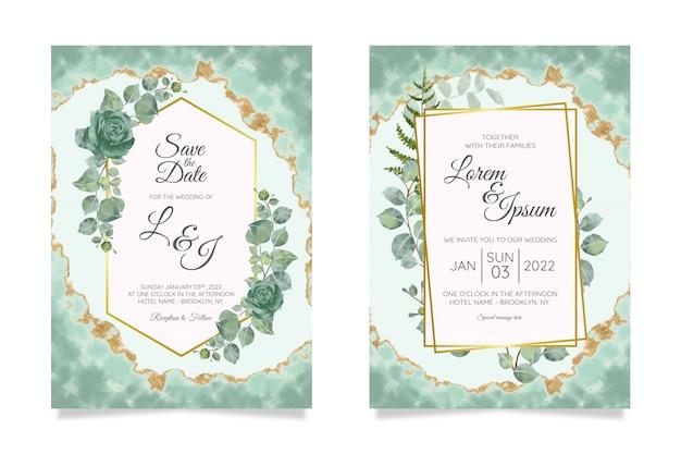 Bloemen bruiloft uitnodiging kaarten sjabloon set Premium Vector