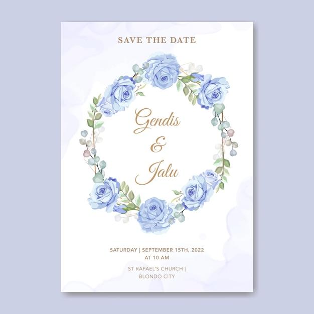 Bloemen bruiloft uitnodiging kaartsjabloon blauwe roos Premium Vector