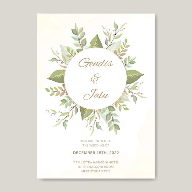 Bloemen bruiloft uitnodiging kaartsjabloon groen planten Premium Vector