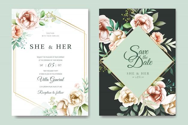 Bloemen bruiloft uitnodiging kaartsjabloon ingesteld met aquarel bloemen Premium Vector