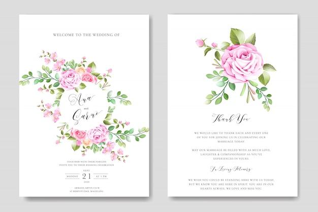 Bloemen bruiloft uitnodiging kaartsjabloon met bloemen krans Premium Vector