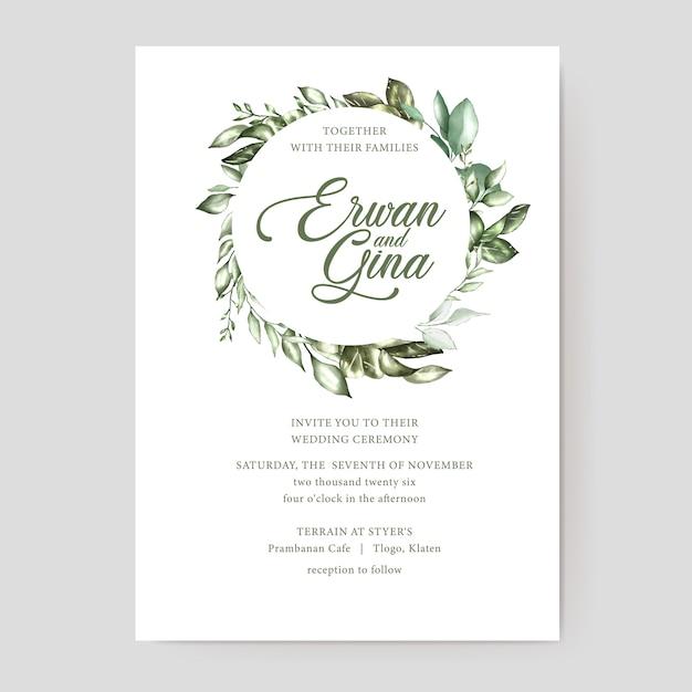 Bloemen bruiloft uitnodiging kaartsjabloon Premium Vector