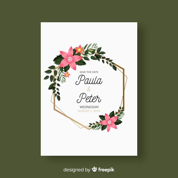 Bloemen bruiloft uitnodiging kaartsjabloon Gratis Vector