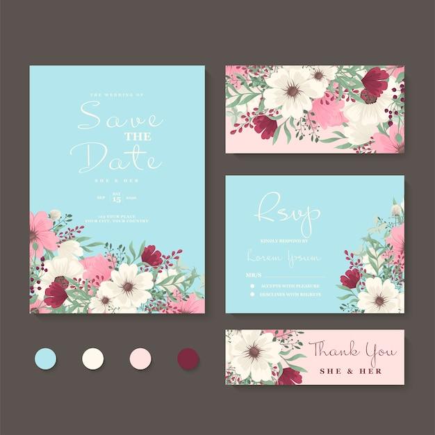 Bloemen bruiloft uitnodiging set Gratis Vector