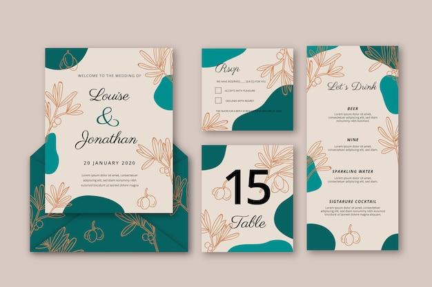 Bloemen bruiloft uitnodiging sjabloon abstract Gratis Vector