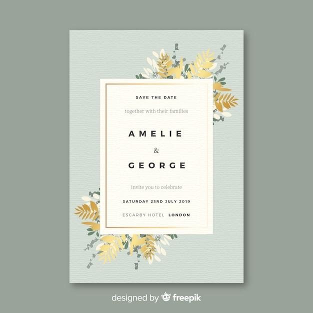 Bloemen bruiloft uitnodiging sjabloon in plat ontwerp Gratis Vector