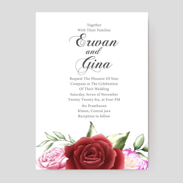 Bloemen bruiloft uitnodiging sjabloon kaart ontwerp Premium Vector