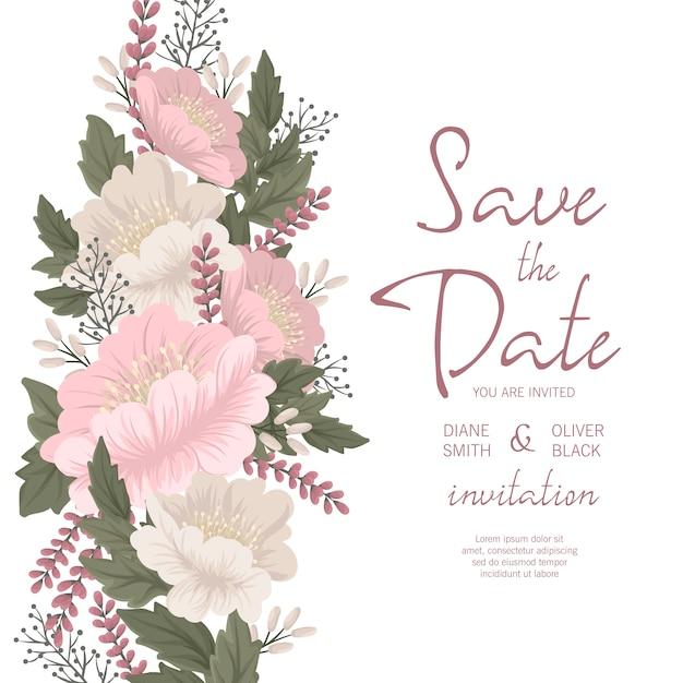 Bloemen bruiloft uitnodiging sjabloon - roze bloemen kaart Gratis Vector