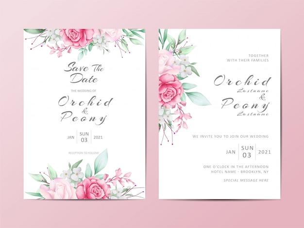 Bloemen bruiloft uitnodiging sjabloon set aquarel rozen bloemen Premium Vector