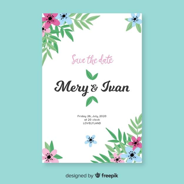 Bloemen bruiloft uitnodiging sjabloon Gratis Vector
