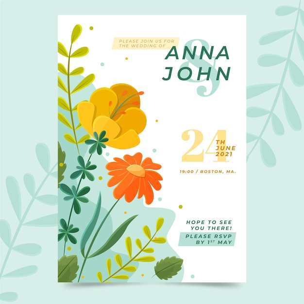Bloemen bruiloft uitnodiging Premium Vector