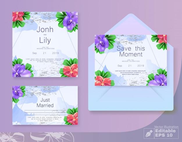 Bloemen bruiloft uitnodigingskaart instellen met envelop Premium Vector