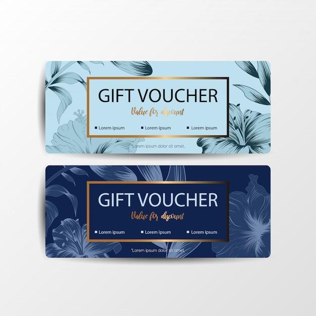 Bloemen cadeaubon kaarten Premium Vector