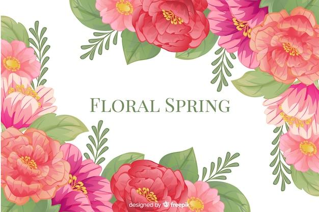 Bloemen de lenteachtergrond met kleurrijk kader Gratis Vector