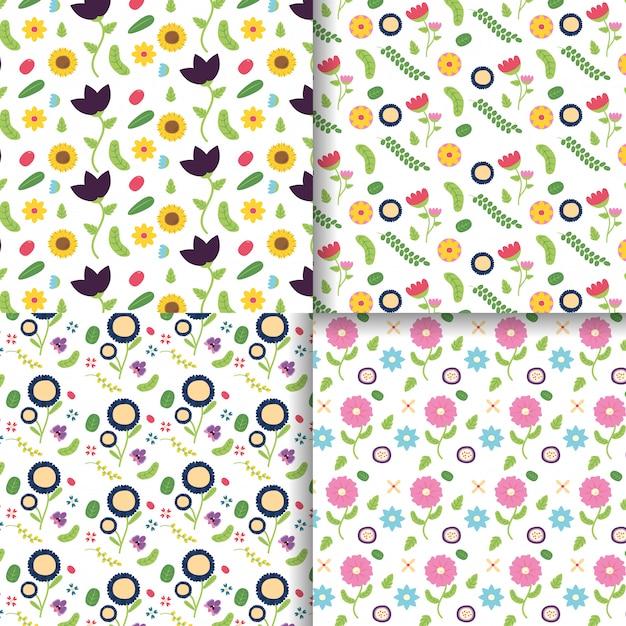 Bloemen decoratie banner collectie bloem decoratie roze, paarse, gele bloemen illustratie Gratis Vector