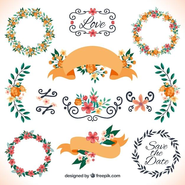 Bloemen decoratie voor bruiloft Vector   Gratis Download